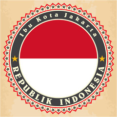 Vintage label cards of Indonesia flag.