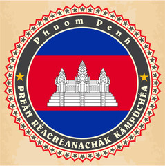 Vintage label cards of Cambodia flag.