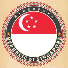 Vintage label cards of Singapore flag.