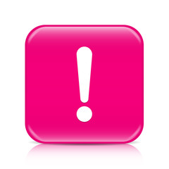 Pink exclamation sign, attention button, icon