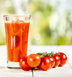 Glass of freshly prepared tomato juice
