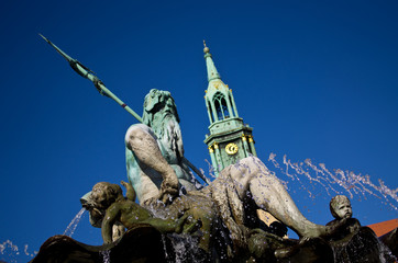 Neptune fountain in Alexanderplatz, Berlin, Germany