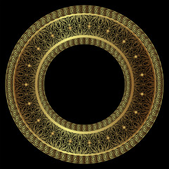 Luxurious round gold frame with a Greek meander