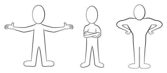 Cartoon Männchen in schwarz-weiß