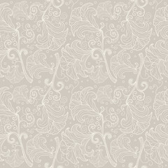 Abstract seamless floral pattern contour.