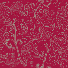 Abstract seamless floral pattern with stylized lilies