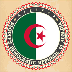 Vintage label cards of Algeria flag
