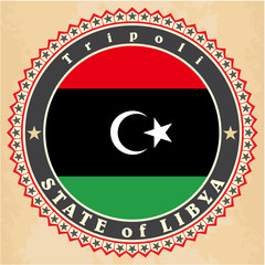 Vintage label cards of Libya flag.