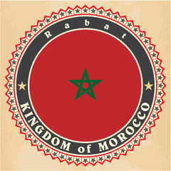 Vintage label cards of Morocco flag.