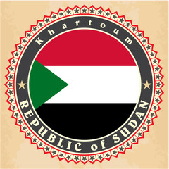 Vintage label cards of Sudan flag.