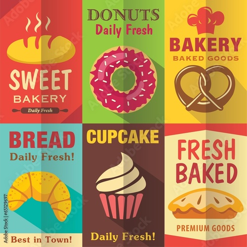Fototapeta Bakery posters set with flat design. Vector background