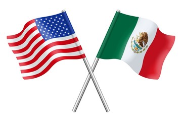 Flags : USA and Mexico