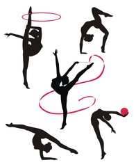 Silhouettes of gymnasts