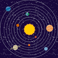 Vecotr solar system illustration