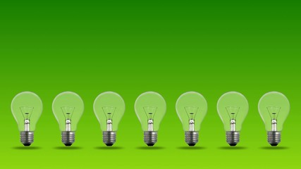 bulbs on green background