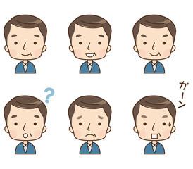 男性 中年 顔 表情 セット