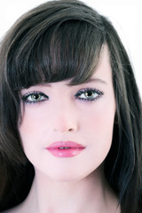 close up portrait of beautiful brunette woman