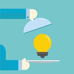Serving an idea. ,vector,illustration.