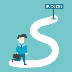 Businessman walking on the street to success,vector,illustration