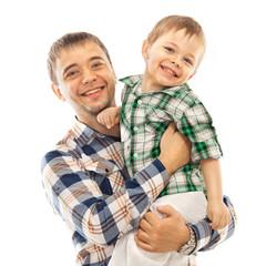 Joyful father with son