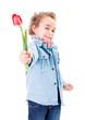 Cute little boy offering a tulip