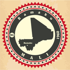 Vintage label-sticker cards of Mali