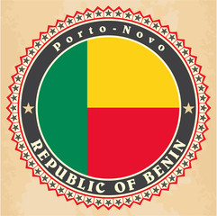Vintage label cards of Benin flag.