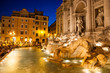 Night view of Trevi Fountain in Rome, Italy
