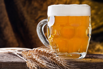 Beer on the golden background