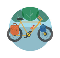 Bicycle near the trees. Bicycle tourism.