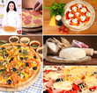 Collage of preparing pizza