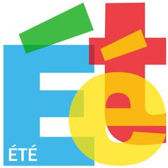 """Mosaïque de Lettres """"ETE"""" (été vacances saison soleil plage)"""