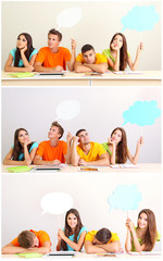 Collage of group of young students with empty think bubbles
