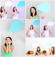 Collage of group young people with empty think bubbles