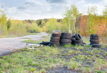 barricades of tires