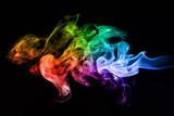 Colorful creative smoke waves on black background - 65134218
