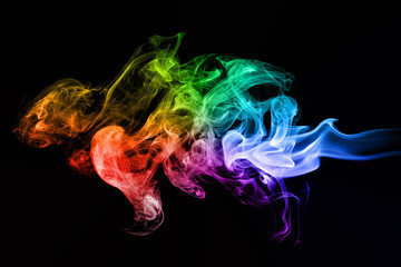 Colorful creative smoke waves on black background