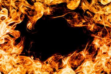 Fire flames on black background, frame, border.