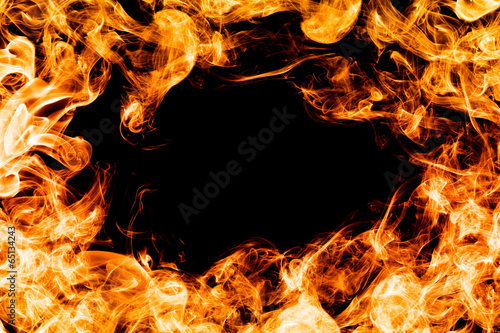 canvas print picture Fire flames on black background, frame, border.
