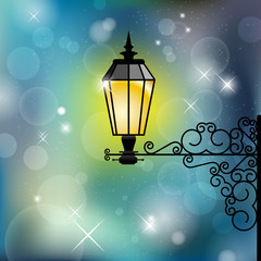 Vintage street lamp with shiny background