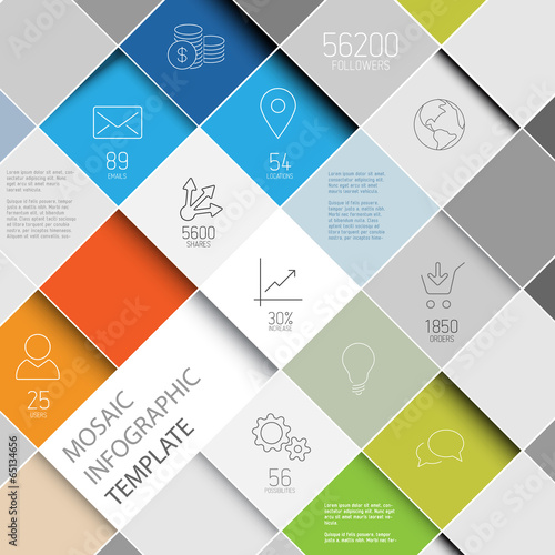 Vector mosaic infographic template