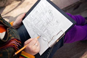 Городской пейзаж нарисованный карандашом
