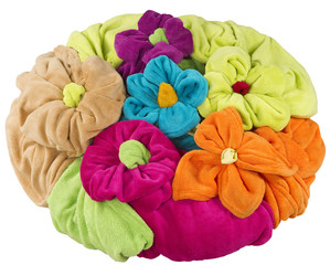 stack of colored towel shape of a flower isolated on white
