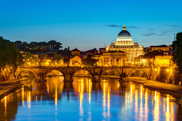 Night view at St. Peter's cathedral in Rome