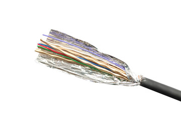 open cable insulator of shielded isolated on white.