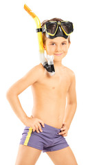 Little boy with a diving mask