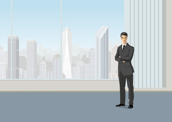 Businessman standing in the office. Vector design copyspace