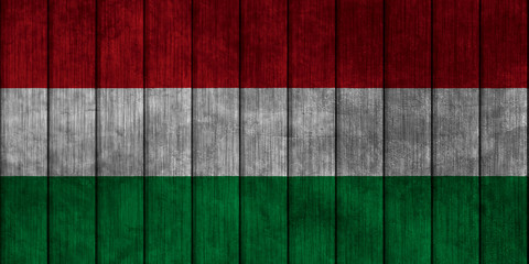Illustration with flag in map on grunge background - Hungary