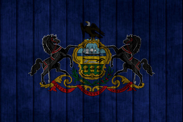 Flag in map on grunge background - Pennsylvania