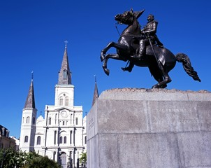 Statue and Cathedral, New Orleans, USA © Arena Photo UK